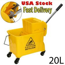 20 L Mop Bucket with Wringer Yellow Cleaning Mopping Commercial Home Clean Cart