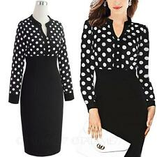 vancy Rockabilly Slimming Cocktail chiffon Womens Knee length spotty Dress Size