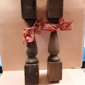 Vintage Pair (2) Wood Stair Posts Architectural Salvage Shabby Chic Prim Decor