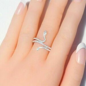 Charm Silver White Sapphire Crystal Ring Snake Cross Band Women Fashion Jewelry