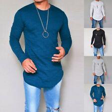 Mens Casual Long Sleeve Slim Fit Shirts Longline Tee Shirts Tops Blouse T-Shirt