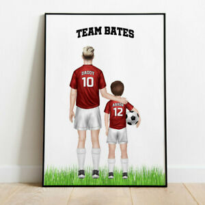 Personalised Father & Son/ Daughter Football Team Picture Print  Keepsake Gift