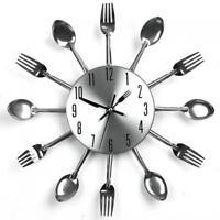Modern Design Silver Cutlery Kitchen Utensil Wall Clock Spoon Fork Watch