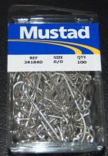 100 Mustad 34184DT-60 Size 6/0 Saltwater 60 Degree Jig Hooks Fits Do It Molds