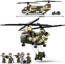 Chinook Helicopter CH-47 w/ Jeep & Figures Compatible Building Bricks 520Pcs