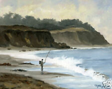 SURF FISHING Oil Painting ART PRINT 11 x 14 Signed by Artist DJR