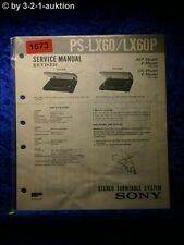 Sony Service Manual PS LX60 / LX60P Turntable System (#1673)
