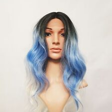 Synthetic Wavy Lace Front Wig 3 Tone Ombre Black/Blue/White Blonde 18""