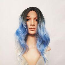 Synthétique Ondulées Dentelle Avant Perruque 3 Tons Ombre Noir/Bleu/Blanc Blonde