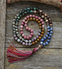 Beaded Long Mala Tassel Chakra 7 Stone Necklace Agate, Boho, Jasper, Beads