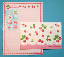 "Japanese Letter Set: ""Sweet Decoration"" Pink Strawberry & Red Plaid Picnic"