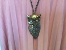 Beautifully Unusual Unique Wise Owl With Glasses Necklace Goldy Bronzy Colour