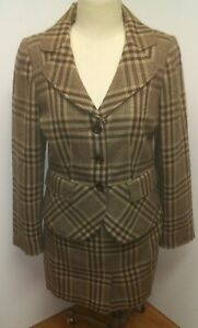 Ann Taylor Vintage Blazer/ Suit Jacket And Skirt Set Brown English Plaid