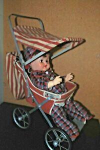 Vintage Doll Stroller 1950s Welsh Stroller Co, St Louis, Easy Fold, Red & White