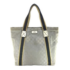 GUCCI VINTAGE SILVER GG MONOGRAM COATED CANVAS TOTE BAG