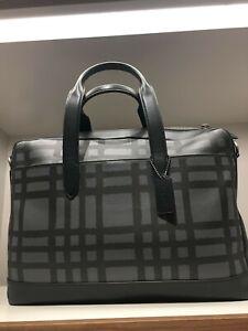 Coach Hamilton Wild Graphite/Black Plaid Print Leather Laptop Briefcase F11187