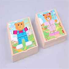 Wooden Baby Bear Changing Clothes Puzzle Set Children Kids Educational Toys New