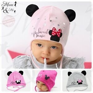 Baby Girls Hat Toddler Tie Up Beanie Cotton Kids Lace Up Cap Stretchy Strings