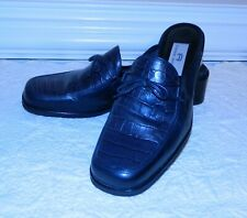 "Etienne Aigner ""Canoe"" Dark Navy Blue Leather Croc-Embossed Mules/Slides 7-1/2 N"