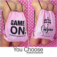 PINK DRAWSTRING BACKPACK BAG beach volleyball soccer swim dance workout yoga NEW
