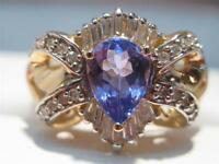 QUALITY 14KT SOLID TANZANITE  & DIAMOND LADIES RING