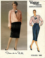 VTG VOGUE Amer. D. Jacket,Skirt&Blouse Oscar de la Renta Pattern 1592  12 UNCUT
