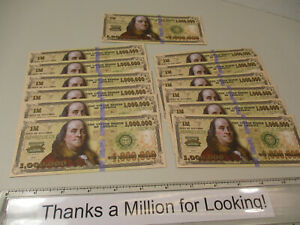 Lot of (12) One Million Dollar Bill Gospel Tract, Pack, $1,000,000 Tracts, NEW