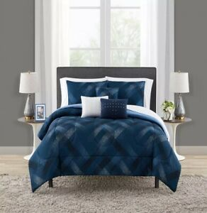 NEW Mainstays Coordinated 8-Piece Bedding Set Twin/Twin XL Teal/White Plaid