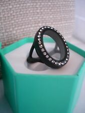 Authentic Origami Owl Black Hinged Living  Locket Ring w/ Crystals Size 6 NIB