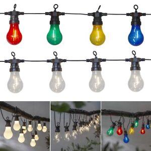 LED Party Lichterkette mit 10/20 Glühbirnen 230V Netzteil für Außen Garten