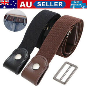 Unisex Buckleless Buckle Free Elastic Waist Belt Elastic Waistband Invisible /AU