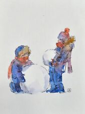 Christmas New Year greeting card snowman watercolor handmade by S. Avdeev