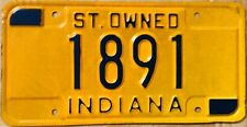 Indiana  license plate - State Owned - Government- Genuine
