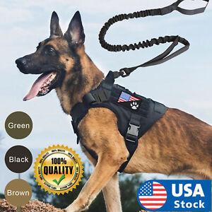 USA Tactical Dog Vest Harness – Military K9 Dog Training Vest –Working Dog+Leash