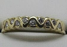 SOLID 18CT YELLOW GOLD NATURAL DIAMOND DRESS/WEDDING RING - SIZE P