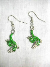 NEW GREEN ENAMEL CHINESE DRAGON CHARMS DANGLING DROP HOOK WIRE FASHION EARRINGS
