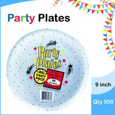Disposable Plastic Plates 9 Inch 500/Pc Round White Plate Party Occasions New