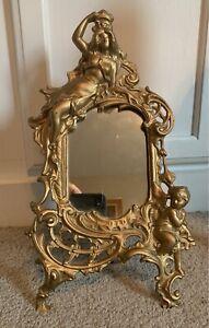 Beatrice Art Nouvea Brass Easel Mirror