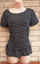 G21 BLACK WHITE HEART PRINT SMOCK BAGGY A LINE TUNIC CAMI TOP BLOUSE 10 S