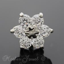 SILVER SURGICAL STEEL SIMULATED DIAMOND DAISY FLOWER CARTILAGE TRAGUS HELIX STUD