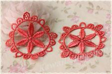 Coppia pizzo colore rosso arancio macramè PER creare orecchini 8.5cm