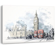 Big Ben Red Bus Cab Drawing Painting London Luxury Canvas Wall Art Picture Print