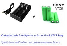 4 BATTERIE SONY VTC5 18650 2600 mAh 30A + CARICABATTERIE 2 CANALI INTELLIGENTE