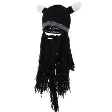 ⚔️Badass Viking Beanie Beard Hat Barbarian Men's Warm Knit Horn