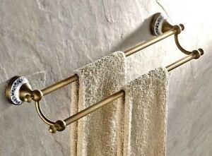 Antique Brass Wall Mounted Bathroom Dual Bar Towel Holders 8ba407