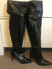 Thigh High Over The Knee Long Black Leather Boots Size 3 36