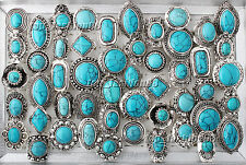 wholesale lot 5ps large tibetan tribe turquoise gemstone Silver P Ring Jewelry