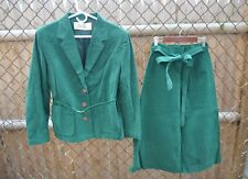 Lilli Ann vintage 70s 80s kelly green ultrasuede 3 piece skirt suit S M