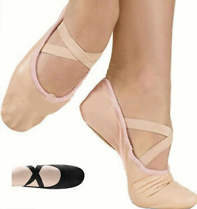 Ballet Dance Leather Shoes Full Sole Children's & Adult's Sizes Crossed Elastics