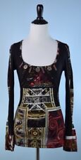 SAVE THE QUEEN $198 Black Gold Red Long Sleeve Stitch Metal Button Tunic Top L